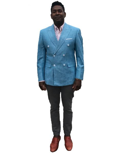 Mens Double Breasted Suits Jacket Linen Summer Sport Coat Blazer in Light Sky Blue