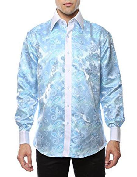Sky Blue Shiny Satin Floral Spread Collar Paisley Dress Shirt