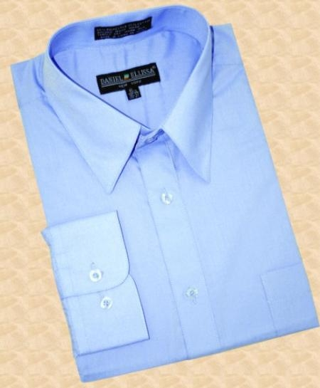 SKU#BF768 Sky Blue Cotton Blend Dress Shirt With Convertible Cuffs $29