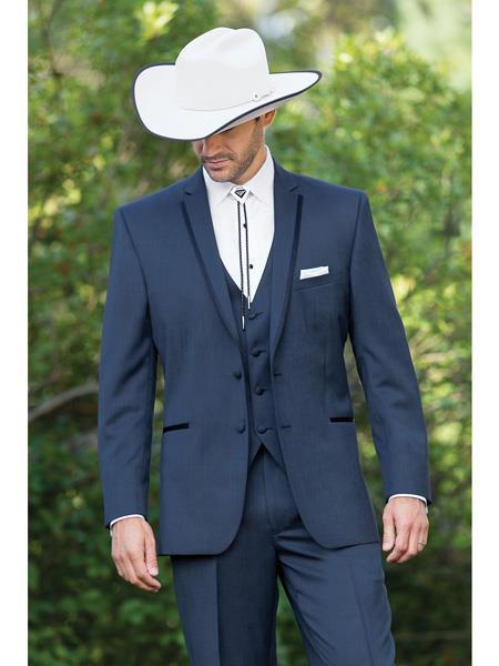 Country Tuxedos For Weddings Mens Western Traje Vaquero Suit & Tuxedo Slate Blue