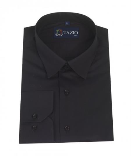 SKU#KA5334 Mens Dress Shirt Slim Fit - Black