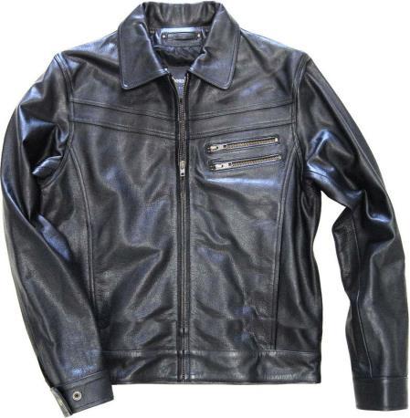 Buy KA9562 Zip Front Genuine Leather Jacket. Slim Fit Black Distressed Simple tanners avenue jacket