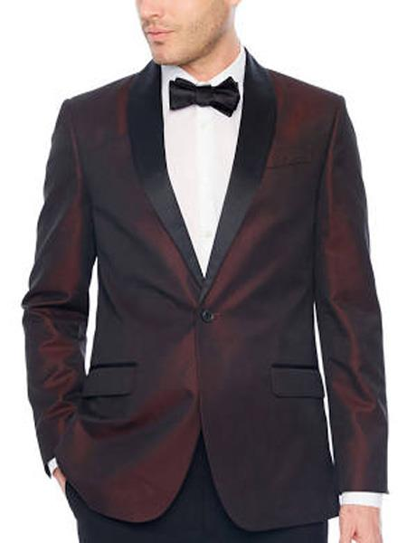 Mens Shiny Flashy Black and Burgundy ~ Wine ~ Maroon Suit  ~Blazer  Sport Coat
