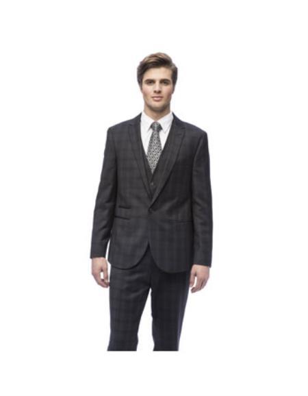 West End Mens Slim Fit Charcoal Peak Lapel Vested Suit - Color: Dark Grey Suit