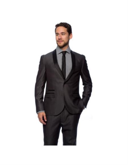 West End Men's Charcoal Young Look Slim Fit Collar Satin-Detailed Tuxedo - Color: Dark Grey Suit
