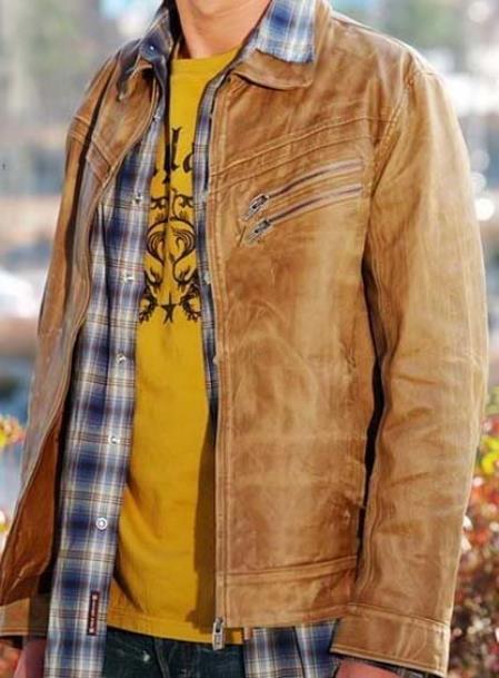 Buy KA6872 Zip Front Genuine Leather Jacket Slim Fit Cognac Distressed Simple tanners avenue jacket