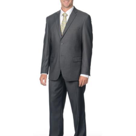 Mens Slim Fit Grey 2-button Notch Collar Business Suit