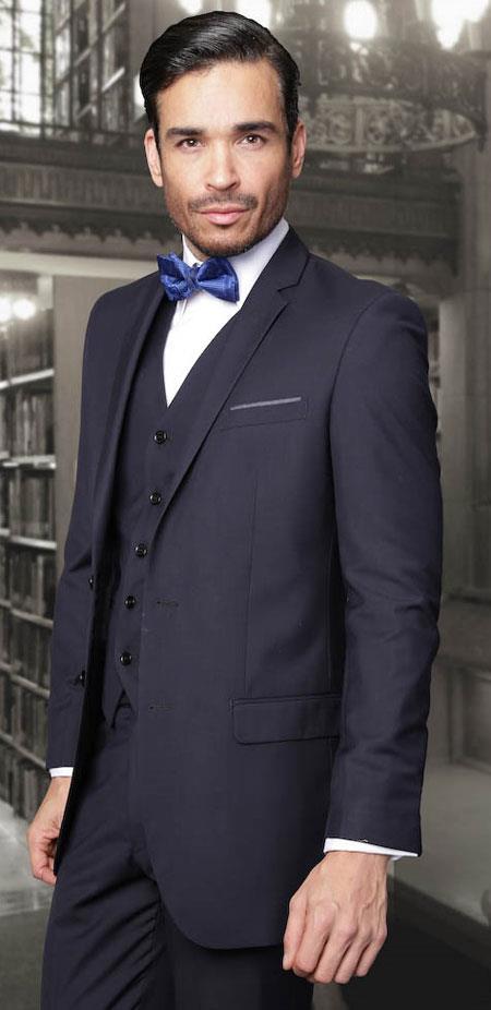 European cut Navy Slim Fit 3 piece Suits