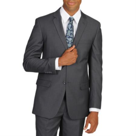 Mens Grey Polyester, Viscose Two Button Slim Fitted Suit