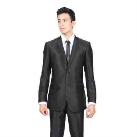 Mens Slim Fit Shiny Black Sharkskin Suit