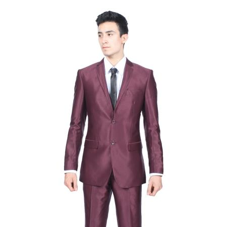 Slim Fit Shiny Burgundy ~ Maroon ~ Wine Color Sharkskin S