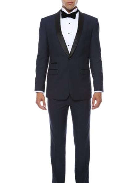 Men's Navy Blue With Black 2pc Shawl Collar Tuxedo