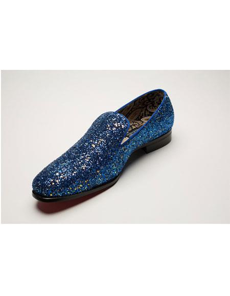 Men's Slip On Blue Shiny Fashionable Stylish Dress Loafer Glitter ~ Sparkly Shoes Sequin Shiny Flashy Look