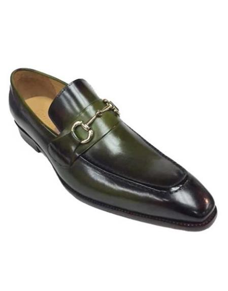 Green Shoe With Top Silver Buckle