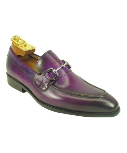 Men's Slip On Leather Fashionable Carrucci Shoe Purple With Top Silver Buckle