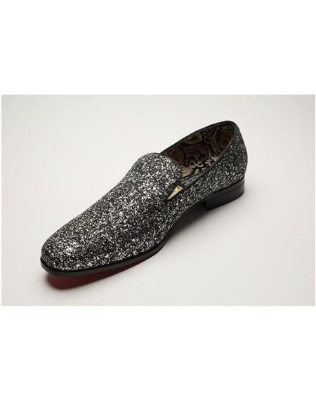 Mens Slip On Shiny Fashionable Black Loafer Glitter ~ Sparkly Shoes Sequin Shiny Flashy Look