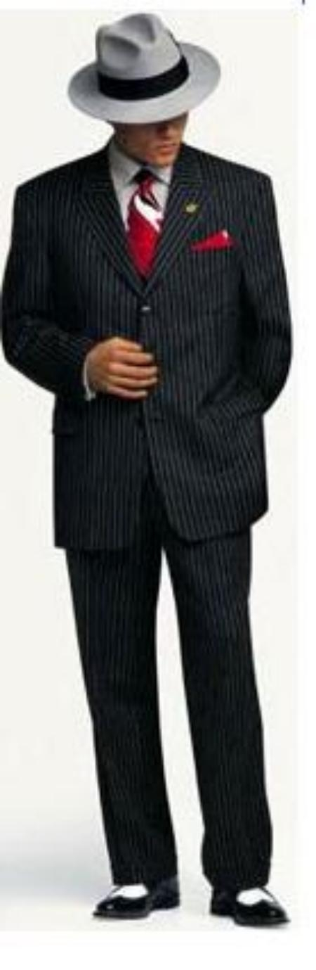 SKU# LJN752 Small Jet Black Pinstripe Fashion Suit Party Fashion Suit Super 120s wool feel poly~rayon light weight