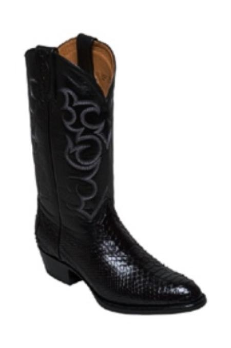 SKU#WJ868 Snake Skin in Black Medium Round Toe