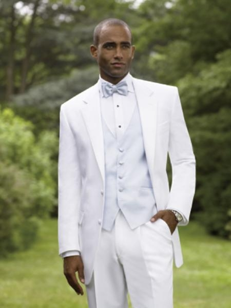 Snow White Notch Lapel Tuxedo single breasted styling with a non-vented back