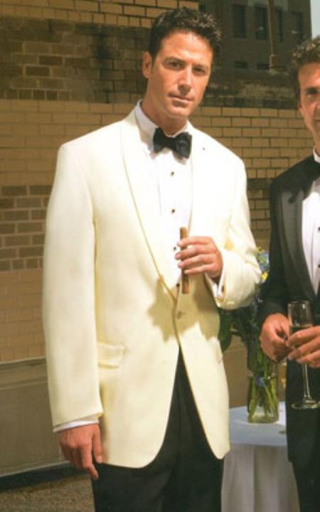 Men's 100% Merino Wool Snow White Shawl Collar Dinner Jacket