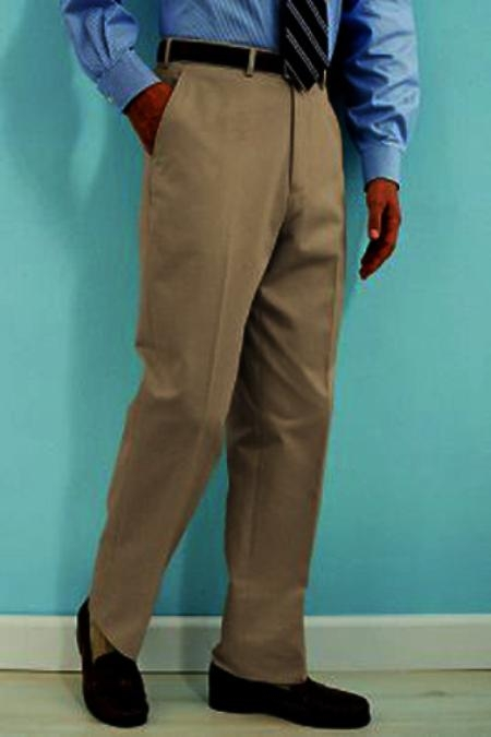 SKU#YU511 PA-100 Tan ~ Beige premier quality italian fabric Flat Front Mens Wool Dress Pants Hand Made Relax Fit $69