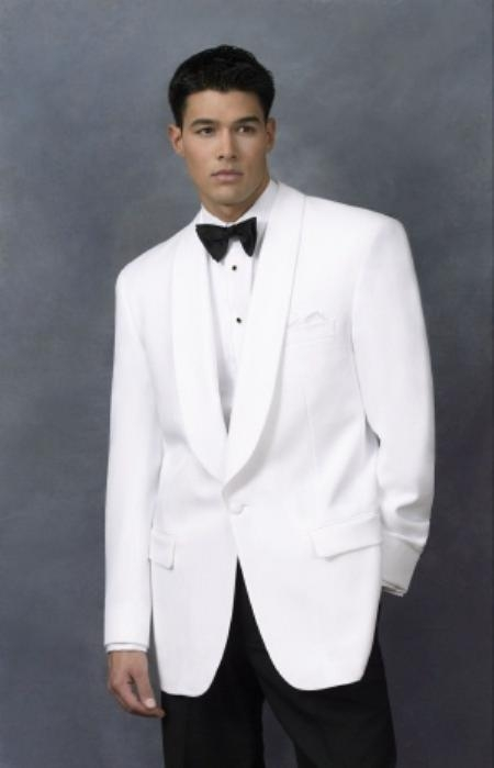 SKU#JUL_01 Snow White Dinner Jacket 100% Poly 1 Button Shawl Collar