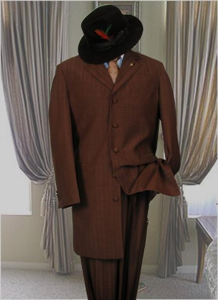"SKU# 7853 Solid BROWN MENS FASHION ZOOT SUIT 38"" LONG JACKET WITH COVERED BUTTON $109"