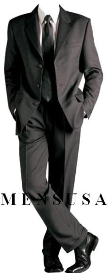 SKU#ANA03 Solid Black Formal Suit +Shirt & Tie As Seen In Picture Package