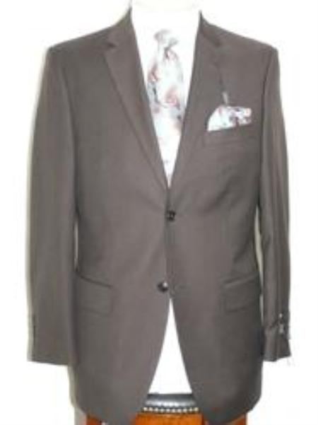 SKU#ANA_202_M156 Solid Brown Extra Fine Poly-Rayon-Wool Feel Summer Light Weight Fabric Suit