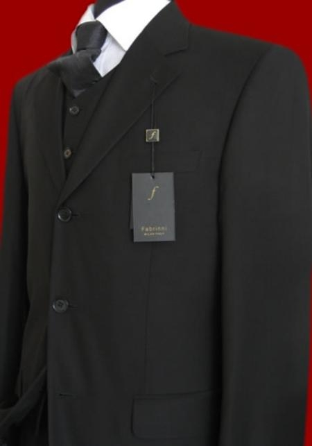 SKU# ED90 Solid Liquid Black Vested Super 150s wool feel poly~rayon Mens Suits $175