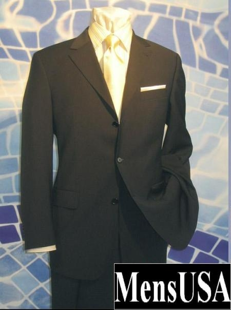 SKU# 221 Solid Black 3 Button Very Light Soft Wool Super 120s Wool $149
