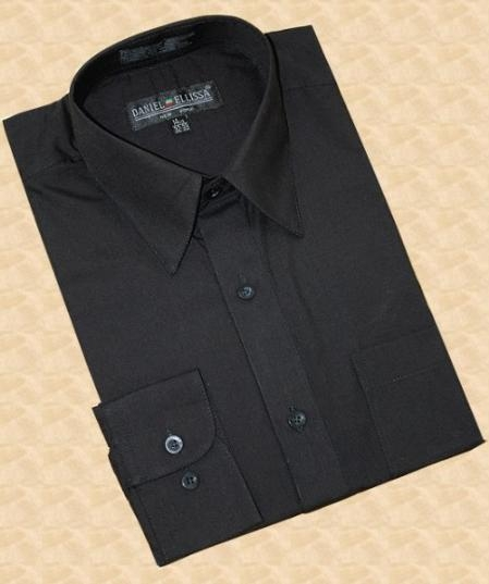 SKU#MK863 Solid Black Cotton Blend Dress Shirt With Convertible Cuffs