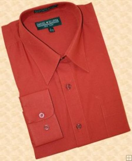 SKU#DH990 Solid Brick Cotton Blend Dress Shirt With Convertible Cuffs $29