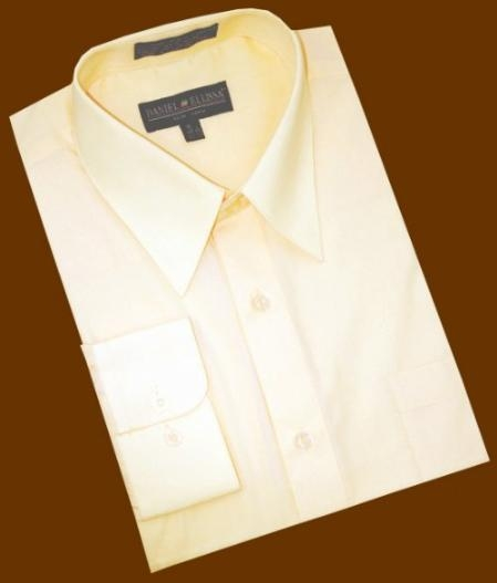 SKU#KP288 Solid Butter Cotton Blend Dress Shirt With Convertible Cuffs $39