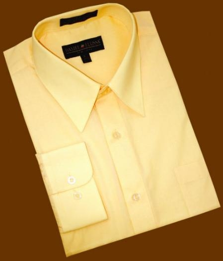 SKU#VK877 Solid Canary Yellow Cotton Blend Dress Shirt With Convertible Cuffs $39