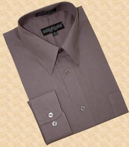 SKU#NK333 Solid Charcoal Grey Cotton Blend Dress Shirt With Convertible Cuffs $39