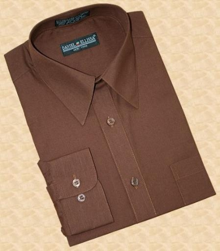 Sku la340 solid chocolate brown cotton blend dress shirt for Mens chocolate brown shirt