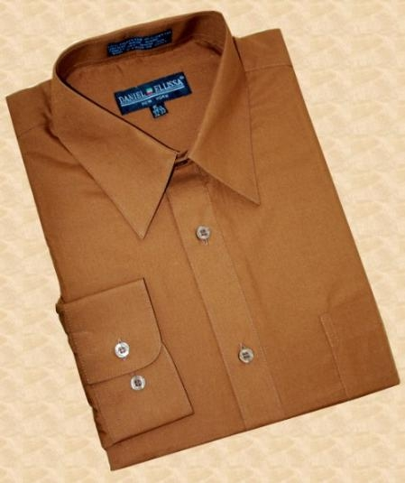 SKU#CK787 Solid Cognac Cotton Blend Dress Shirt With Convertible Cuffs $39