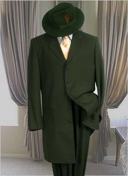 SKU#UZA77 Solid Color Fashion Zoot Suit in Olive Green Fashion Long Jacket Mens Suit $175