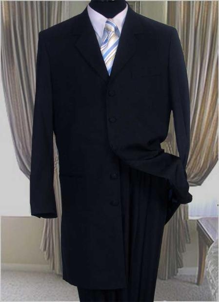 SKU#UZA77 Solid Color Fashion Zoot Suit Long Suit in Navy Blue Mens Suit