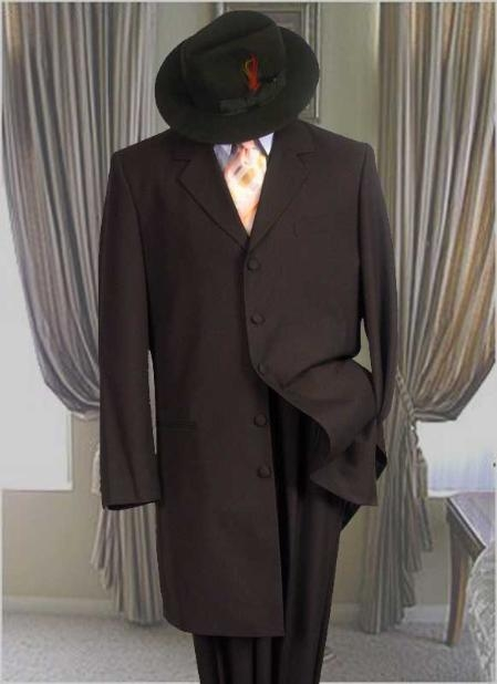 SKU#UZA77 Solid Color Fashion Zoot Suit in Charcoal Gray Fashion Long Jacket Mens Suit $199