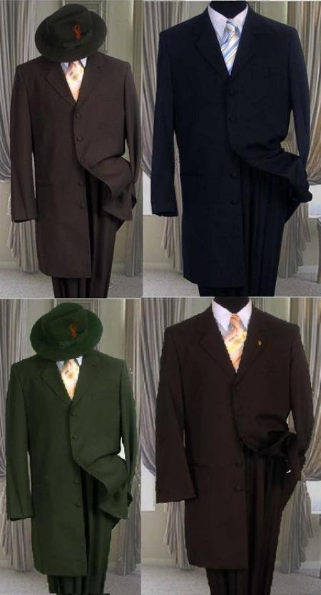 SKU#UZA Solid Color Fashion Zoot Suit in Charcoal Gray/ Navy blue/ Olive Green/ CoCo Brown Only $109