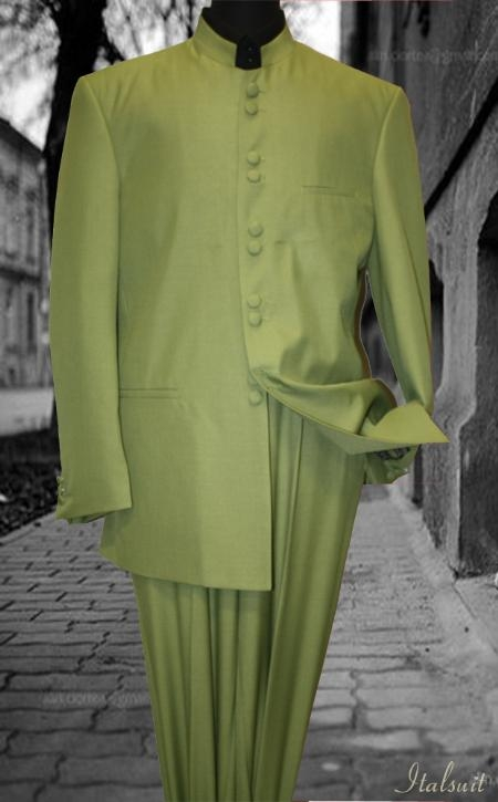 SKU#UM8989 Solid Color Green Mandarin Collar 2PC Mens Suit $175