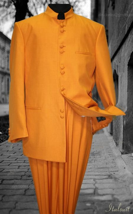 SKU#KC2998 Solid Color Orange Mandarin Collar 2PC Mens Suit $125