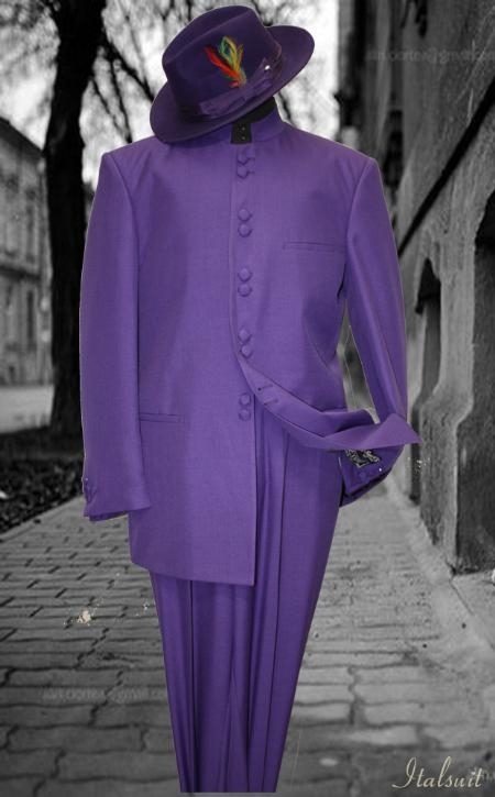 SKU#JX77887 Solid Color Purple Mandarin Collar 2PC Mens Suit $175