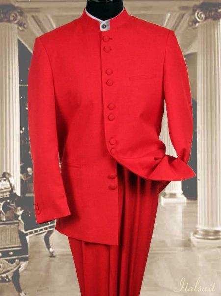 SKU#EW9911 Solid Color Red Mandarin Collar 2PC Mens Suit $695