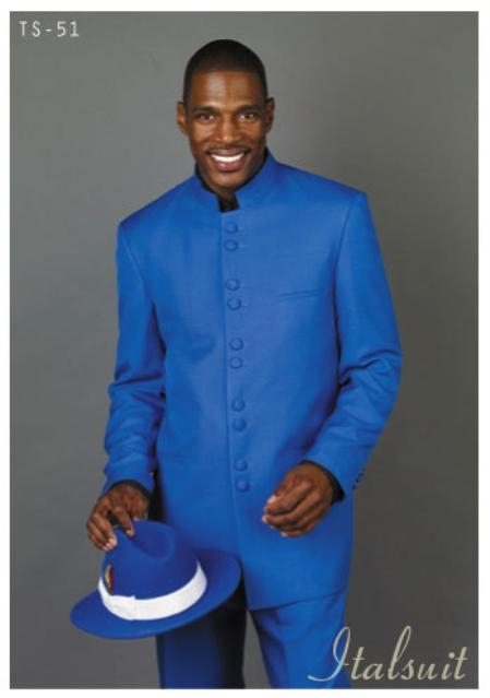 SKU#VJ2897 Solid Color Royal Blue Mandarin Collar 2PC Mens Suit $175