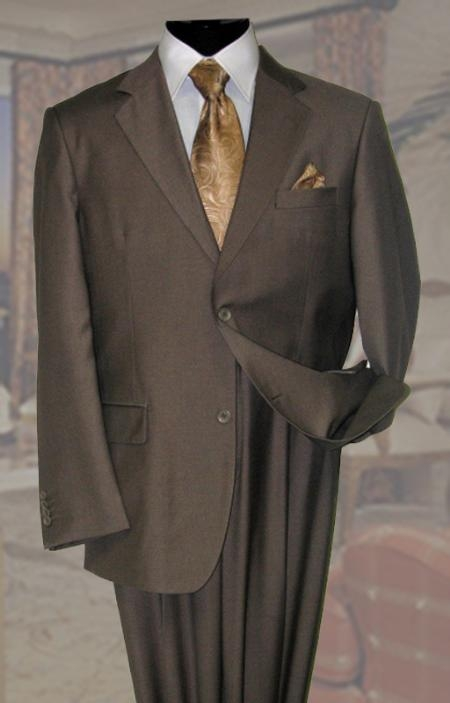 SKU#KL637 Solid Color Taupe Mens Wool Suit 2 Button 2PC $189