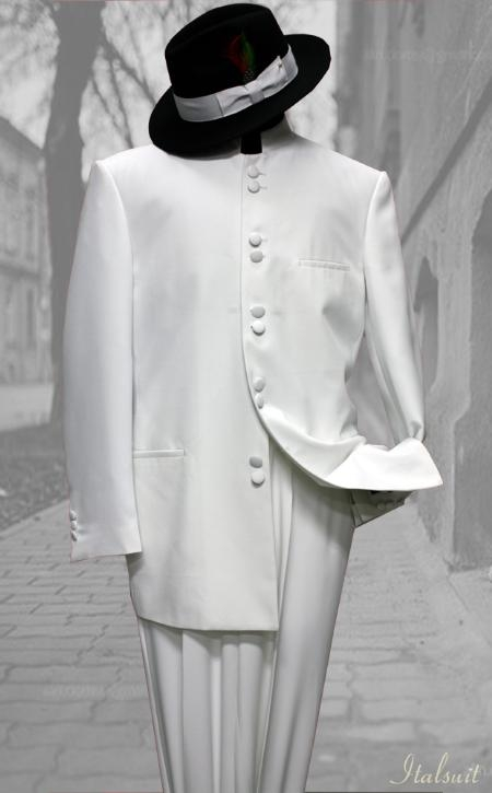 SKU#RT9900 Solid Color White Mandarin Collar 2PC Mens Suit $175