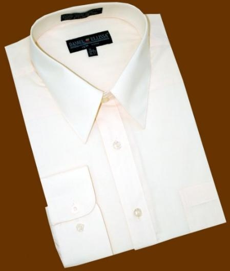SKU#PF882 Solid Cream Ivory Cotton Blend Dress Shirt With Convertible Cuffs